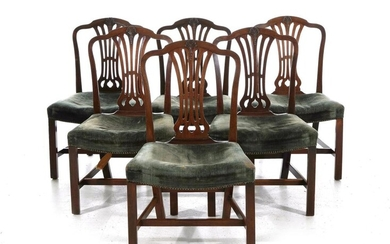 George III carved mahogany dining chairs (6pcs)