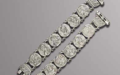 George W. Shiebler, Pair of silver medallion bracelets