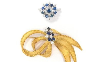 Gold, Sapphire and Diamond Bow Brooch and White Gold, Sapphire and Diamond Ring