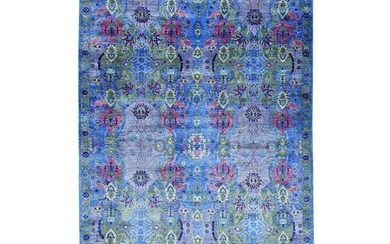 Hand-Knotted Arts And Crafts Design Silk Oriental Rug