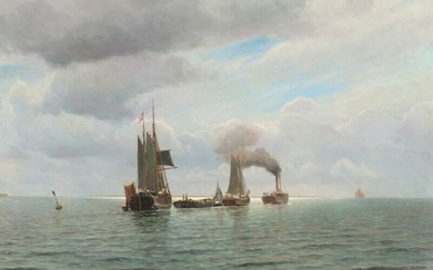 Holger Lübbers: Seascape with boats beeing pulled. Signed and dated H. Lübbers 1922. Oil on canvas. 74.5×107 cm.