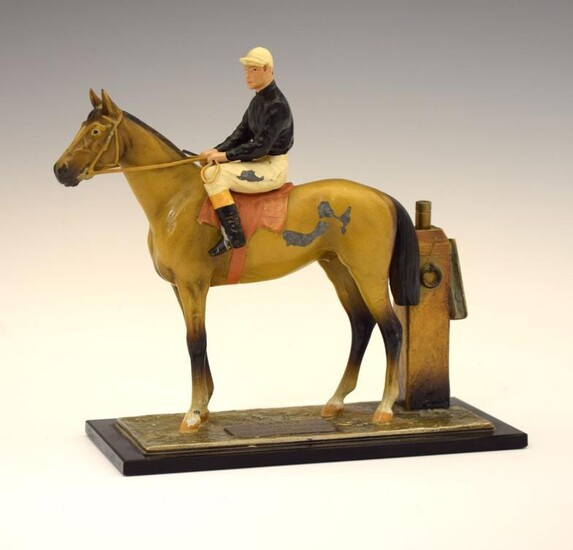 Horse Racing Interest - Cold-painted metal table lighter modelled...