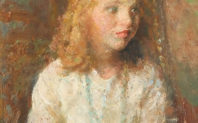 Julius Paulsen: Portrait of a girl in a white dress. Signed J. P. (scratched). Oil on panel. 27×22 cm.