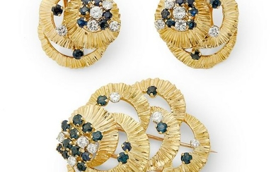 Kutchinsky - an 18ct gold sapphire and diamond suite.