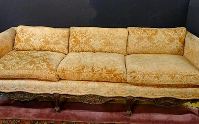 "LOUIS XV STYLE DOWN CUSHION WALNUT SOFA 25.5""H 81""L"