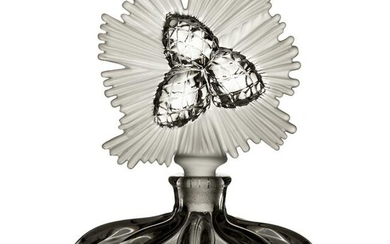 """Lalique Art Deco Frosted Crystal 6"""" Perfume Bottle"""