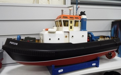 Large Model Tug boat. Radio controlled, twin engines. 28 in...