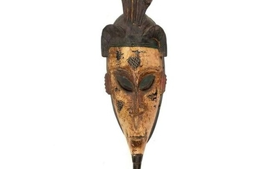 Late 19th C. African Cote D'Ivoire Guro Wood Mask