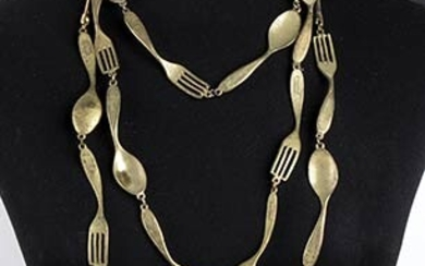 "MOSCHINO 'CUTLERY' NECKLACE Late 80s Metal ""cutlery"" necklace General Conditions..."