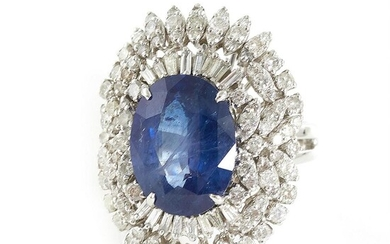 Magnificent blue sapphire and diamond ring