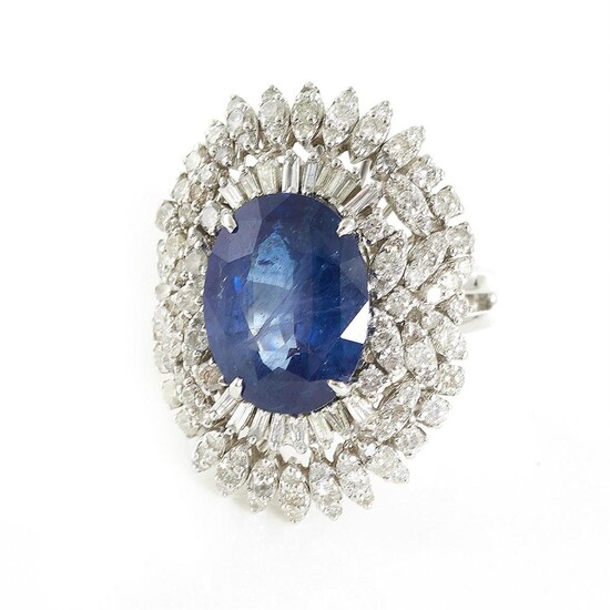 *Magnificent blue sapphire and diamond ring