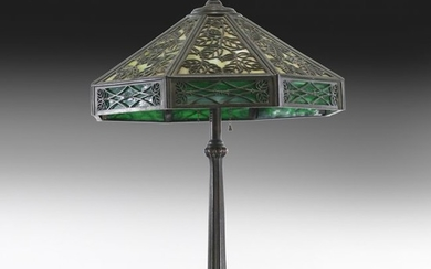 Manner of HANDEL, Bronze Overlay Slag Glass Lamp