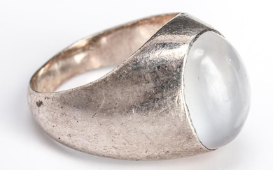 Mid-Century Modern Silver & Oval Moonstone Ring