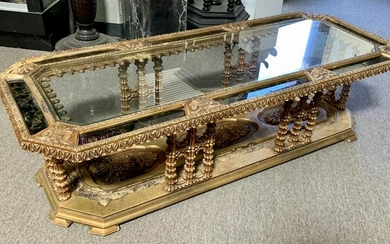 Mid Century Ornate Gilt & Mirrors Coffee Table