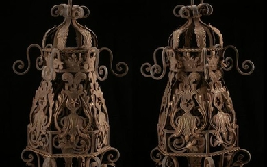 Monumental Spanish Style Wrought Iron Lantern Pair.