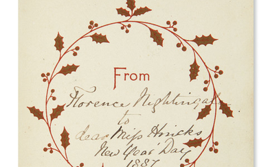 NIGHTINGALE, FLORENCE. Christmas card, Signed and Inscribed