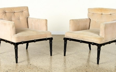 PAIR EBONIZED FAUX BAMBOO UPHOLSTERED CHAIRS 1950