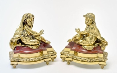 PAIR OF GUILTED BRONZE AND MARBLE FRENCH CHENETS,...