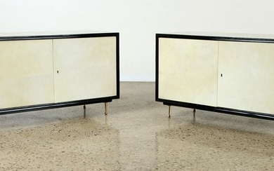 PAIR PARCHMENT COVERED TWO DOOR CABINETS C.1960