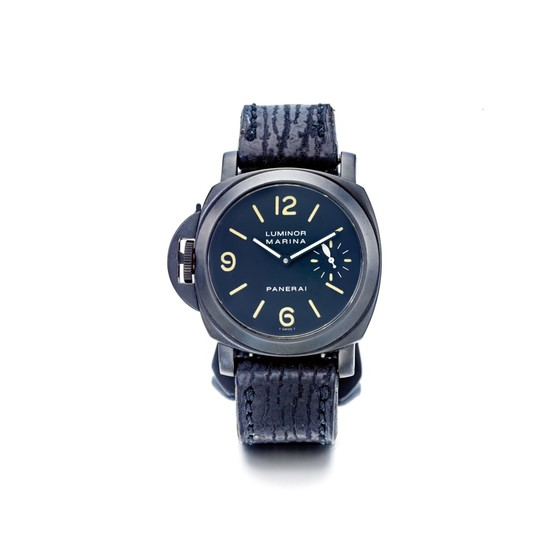 PANERAI | LUMINOR MARINA DESTRO REFERENCE PAM00026, A PVD COATED STAINLESS STEEL CUSHION FORM LEFT HANDED WRISTWATCH, CIRCA 1998 | 沛納海 | PAM00026型號「LUMINOR MARINA DESTRO」PVD塗層精鋼左手版腕錶,年份約1998