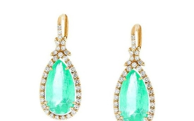 PGS Certified Pear Shaped Colombian Emerald Earrings in
