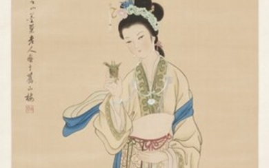 Painting on silk with a lady China, 20th Century