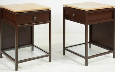 Pair Metal Stone Top Single Drawer End Tables