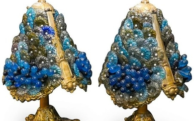 Pair Of Bronze and Murano Glass Lamps