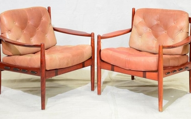 Pair of Button Tufted Mid Century Lounge Chairs