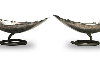Pair of Chinese Export Silver Lotus Dishes