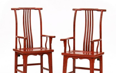Pair of Chinese Red Lacquered Arm Chairs