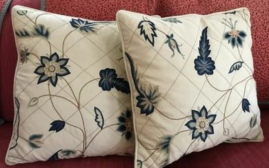 Pair of Crewelwork Type Embroidery Throw Pillows