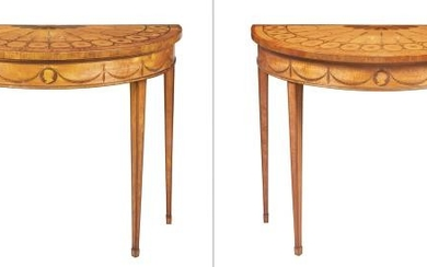 Pair of George III Satinwood, Tulipwood and Marquetry Pier Tables