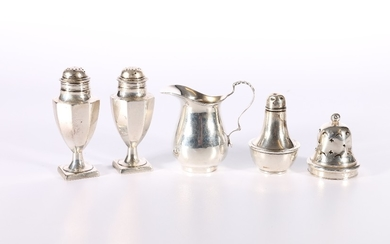 Pair of George V silver pepper pots of octagonal section by&...