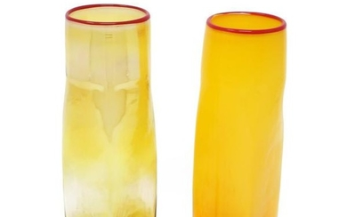 Pair of Signed Studio Glass Vases by Bill Burch for