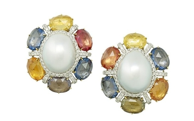 Pair of South Sea Pearl and Sapphire Ear Clips