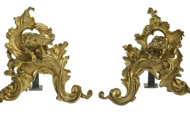 Pair of Unusual French Bronze Figural Chenets