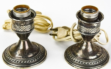 Pair of Weighted Sterling Silver Candlestick Lamps