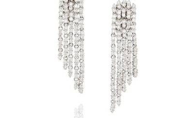 Pair of White Gold and Diamond Fringe Ear Clips