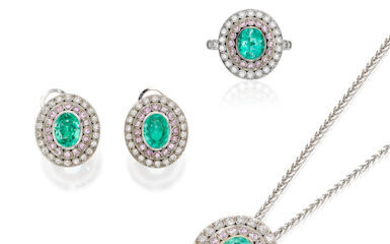 Paraiba Tourmaline, Gem-set and Diamond Ring, Earring and Pendant Suite with GIA