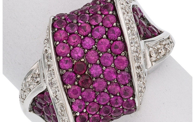 Pink Sapphire, Diamond, White Gold Ring The ring features...