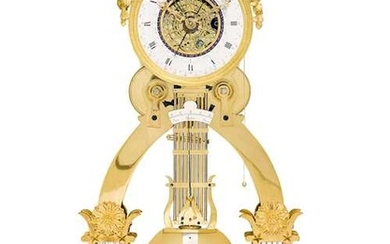 RARE PRECISION SKELETON PENDULUM CLOCK WITH DATE, DAY, SIGNS OF THE ZODIAC AND SECOND
