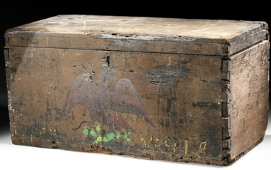Rare 19th C. Mexican Painted Wood Military Trunk