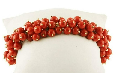 Red Corals Berries Link Bracelet
