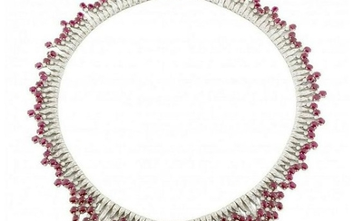 Ruby Diamond Gold Necklace