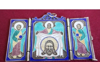 Russian silver and enamel triptych pendant, stamped EA AK/1...