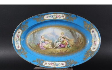 SEVRES OVAL PLATTER early/mid 19th century, outside painted ...