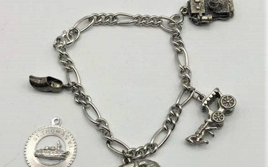 STERLING SILVER Charm Bracelet with 5 Charms