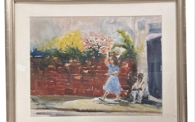 """""""SUMMER DAY TO MARKET"""" SGND NEWMAN, WATERCOLOR (EILEEN"""