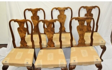 Set of six Queen Anne design walnut dining chairs with vase ...